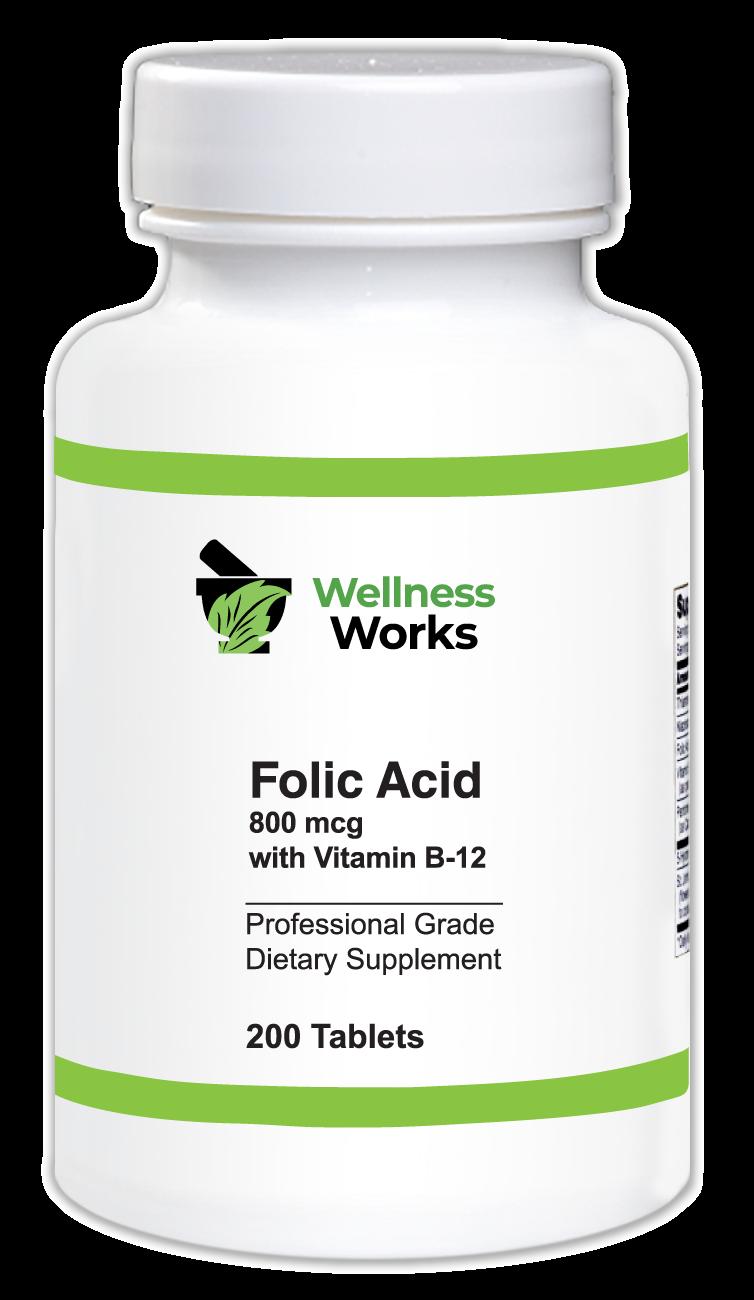 Folic Acid 800mcg with Vitamin B-12 - Wellness Works